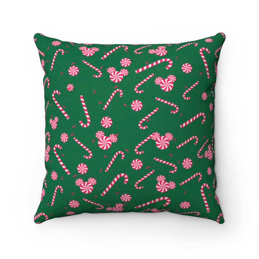 Green Candy Cane Faux Suede Square Pillow