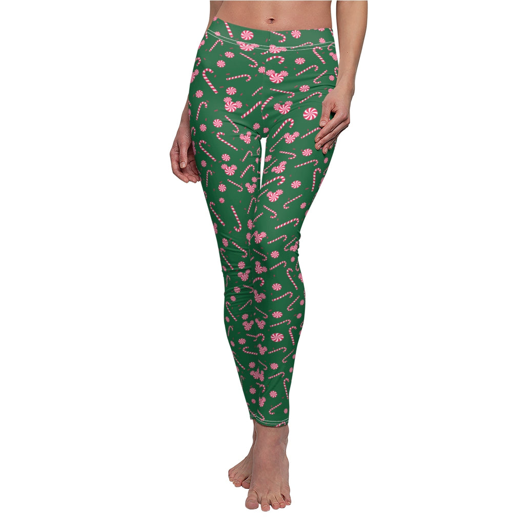 Green Candy Cane Leggings