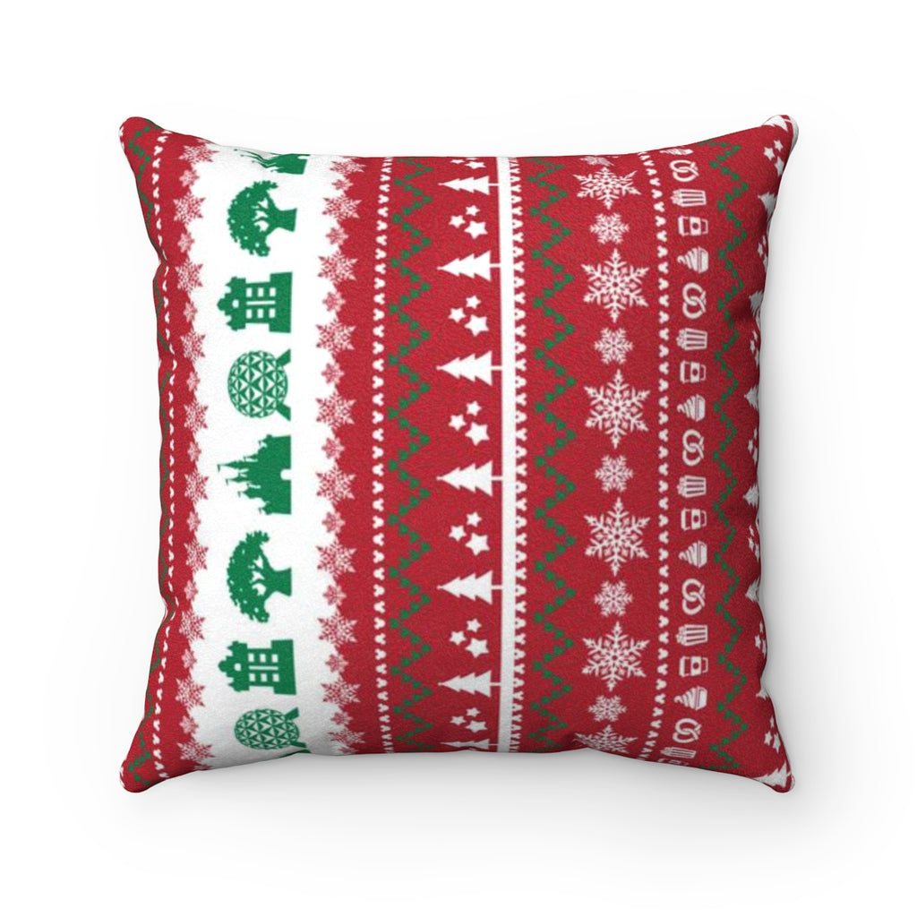 Parks Ugly Sweater Faux Suede Square Pillow