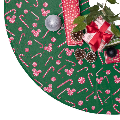 Green Candy Cane Christmas Tree Skirt