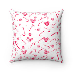 Candy Cane Faux Suede Square Pillow