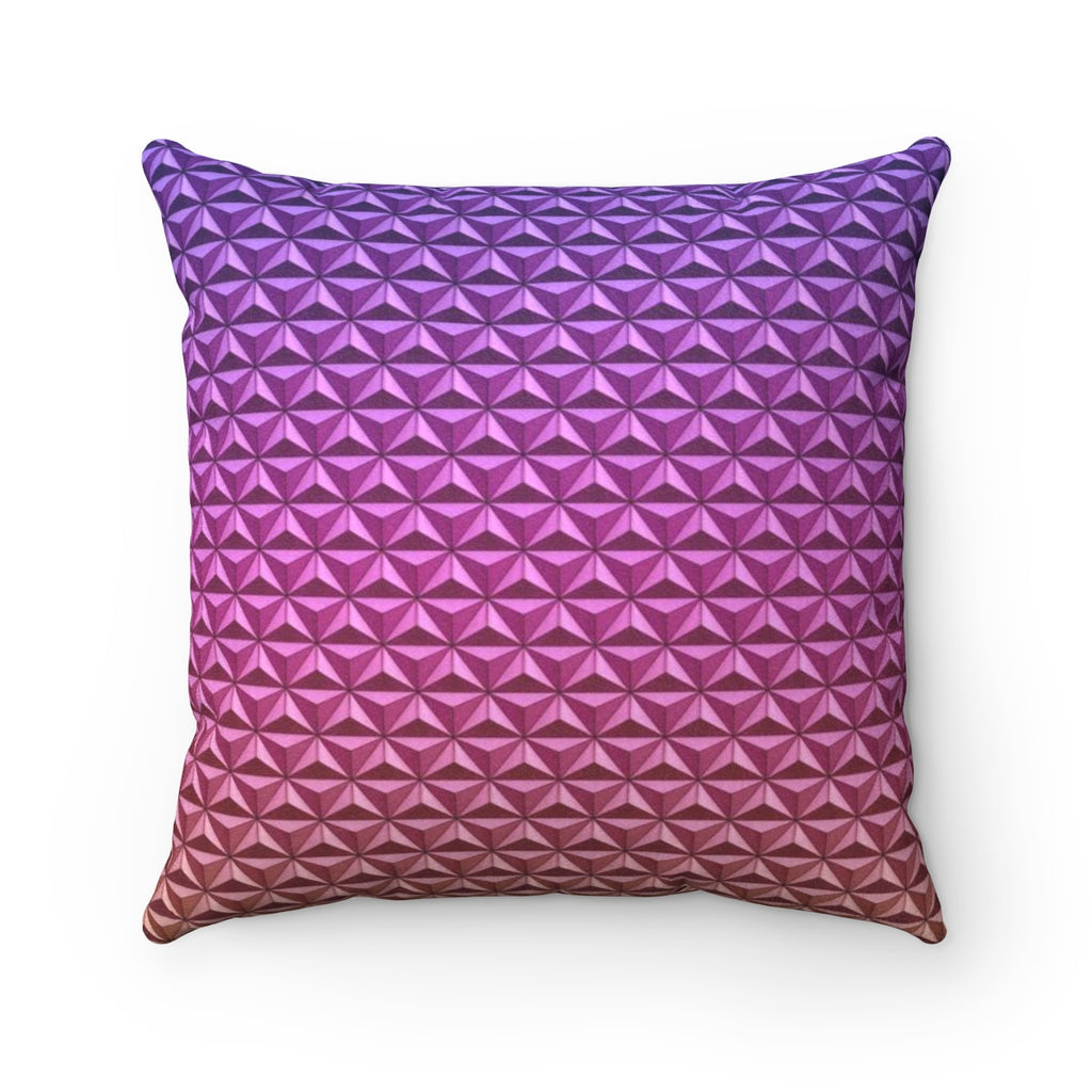 Geodesic Sphere at Night Faux Suede Square Pillow