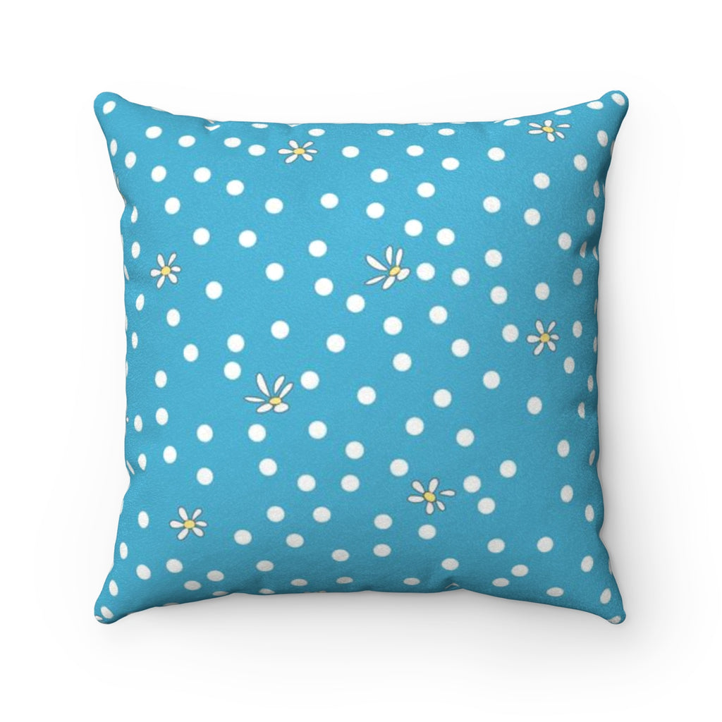 Blue Polka Dot Faux Suede Square Pillow
