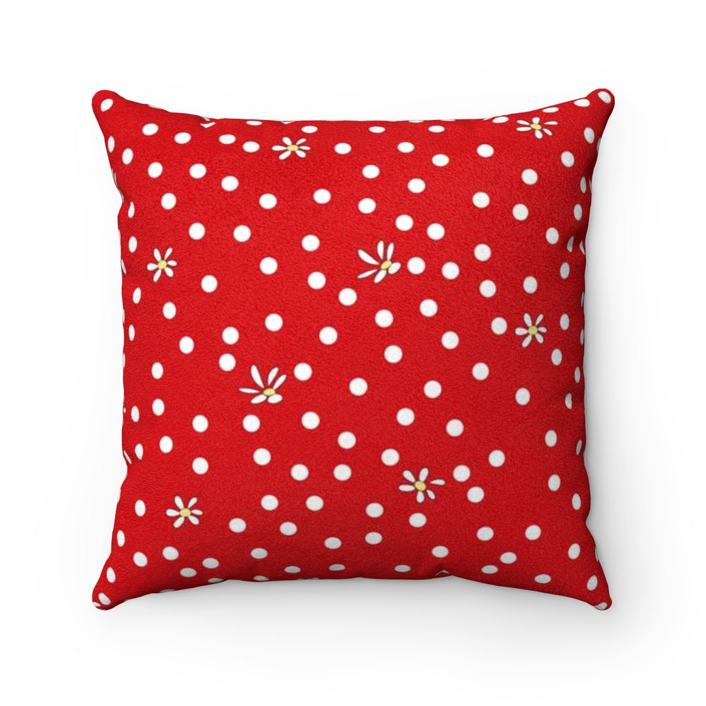 Red Polka Dot Faux Suede Square Pillow
