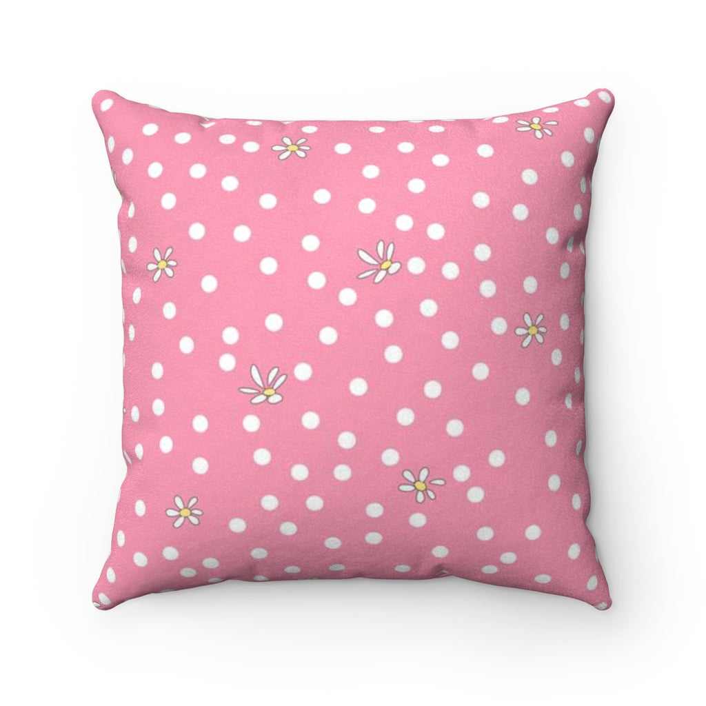 Pink Polka Dot Faux Suede Square Pillow