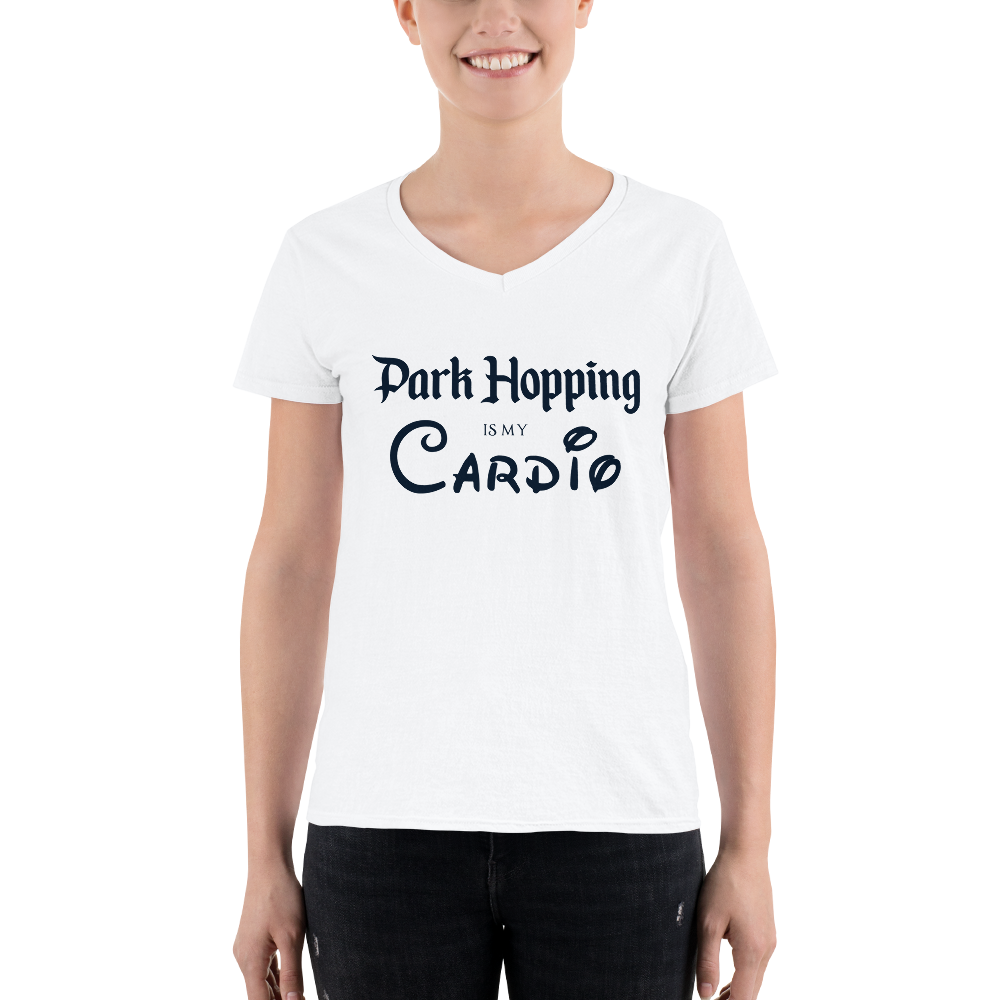 Park Hopping Cardio Women's V-Neck - Dark