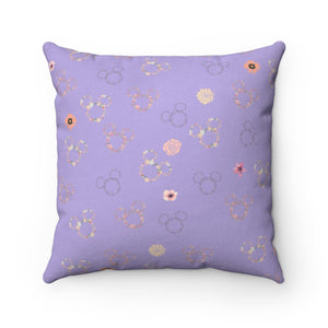 Flower and Garden Faux Suede Square Pillow