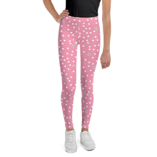 Load image into Gallery viewer, Pink Polka Dot Youth Leggings
