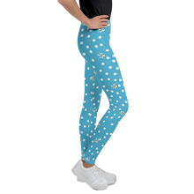 Load image into Gallery viewer, Blue Polka Dot Youth Leggings