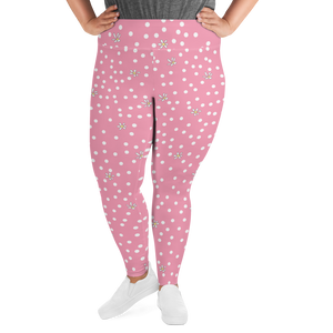 Pink Polka Dot Plus Size Leggings