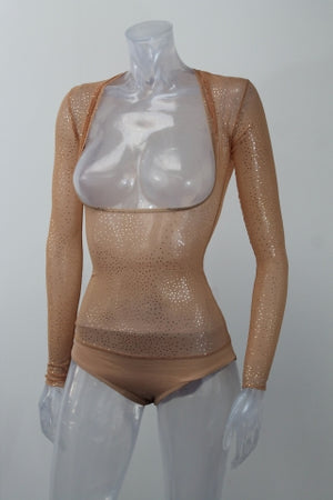 Underbust with Sleeves - Naturelle Gold Sparkle