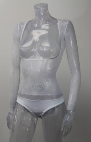 Underbust with Sleeves - White Silver Glitter