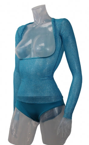 Underbust with Sleeves - Turquoise Silver Glitter