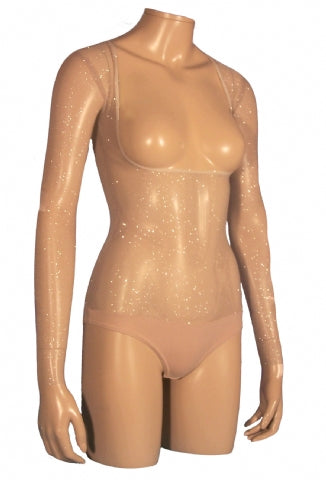Underbust with Sleeves - Light Tan Silver Glitter