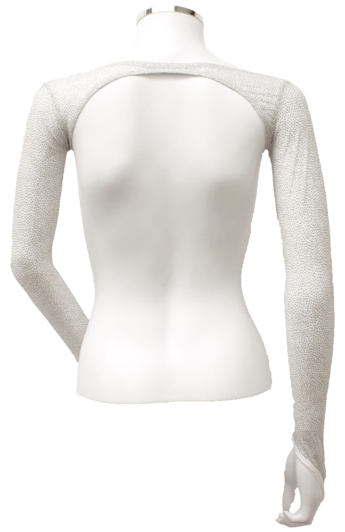 Backless Shrug - White Glitter Dot