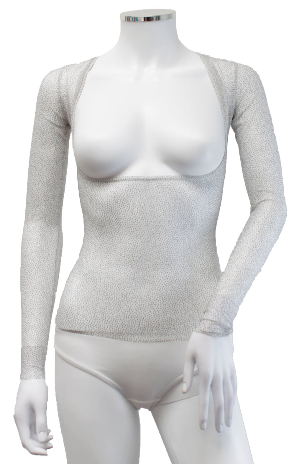 Underbust with Sleeves - White Glitter Dot