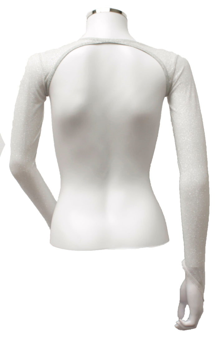Backless Shrug - White Silver Glitter