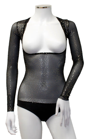 Underbust with Sleeves - Black Gold Sparkle