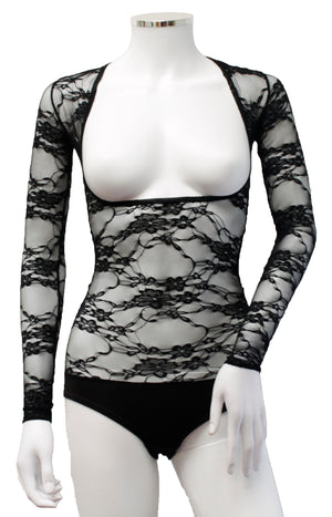 Underbust with Sleeves - Black Lace