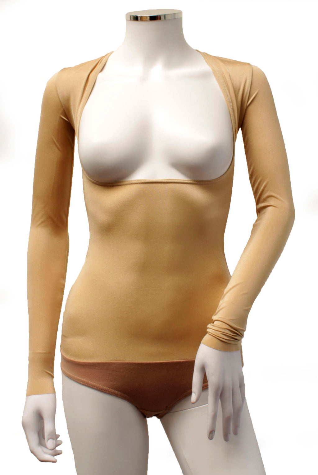 Underbust with Sleeves - Flesh Opaque Lycra