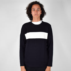 Parlez Channel Knit Jumper Navy/White