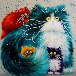 paint by numbers | Colorful Cats Family | advanced animals cats | FiguredArt