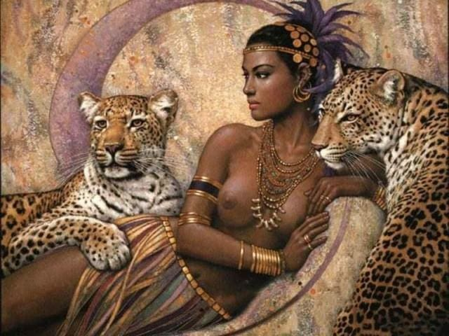 paint by numbers | Goddess and Leopards | advanced animals leopards nude | FiguredArt