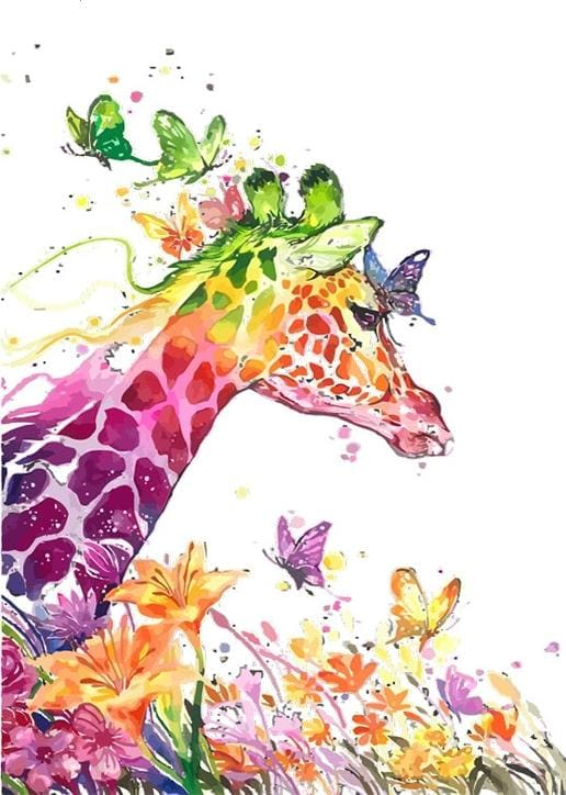paint by numbers | Modern and Colorful Giraffe | animals easy giraffes | FiguredArt