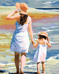 paint by numbers | Mother and Daughter at the Beach | easy landscapes romance | FiguredArt