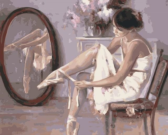 paint by numbers | Preparing ballerina shoes | dance easy | FiguredArt