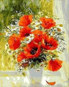 paint by numbers | Red Flowers and Daisies | flowers intermediate | FiguredArt