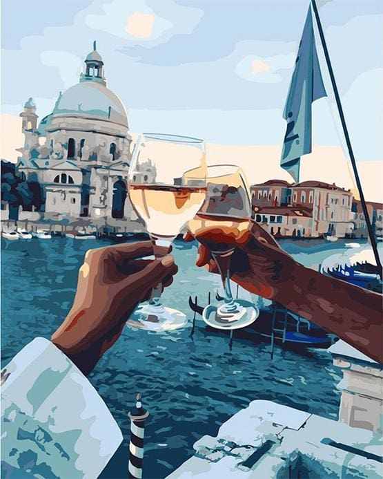 paint by numbers | Romantic Stroll Drink | cities intermediate romance | FiguredArt