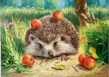 Load image into Gallery viewer, paint by numbers | That Hedgehog really likes Cherries | advanced animals hedgehogs | FiguredArt