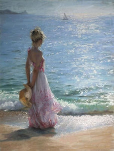 paint by numbers | Young Woman at the Beach | intermediate landscapes romance ships and boats | FiguredArt