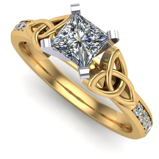 Celtic Engagement Ring AYLIN-1-YELLOW-PRINCESS - Uctuk