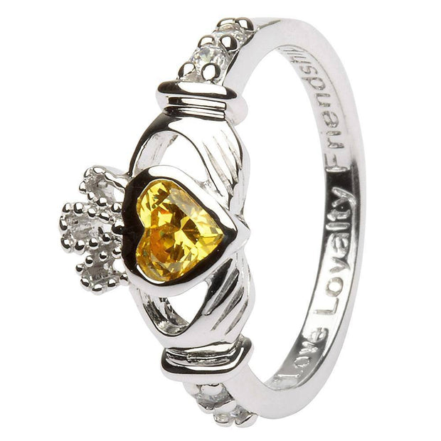 "NOVEMBER Birthstone Silver Claddagh Ring LS-SL90-11 Inscribed with ""Love Loyalty Friendship"" - Uctuk"