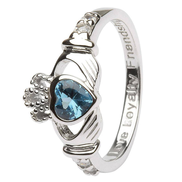 "DECEMBER Birthstone Silver Claddagh Ring LS-SL90-12 Inscribed with ""Love Loyalty Friendship"" - Uctuk"