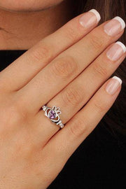 "FEBRUARY Birthstone Silver Claddagh Ring LS-SL90-2 Inscribed with ""Love Loyalty Friendship"" - Uctuk"