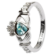"MARCH Birthstone Silver Claddagh Ring LS-SL90-3 Inscribed with ""Love Loyalty Friendship"" - Uctuk"