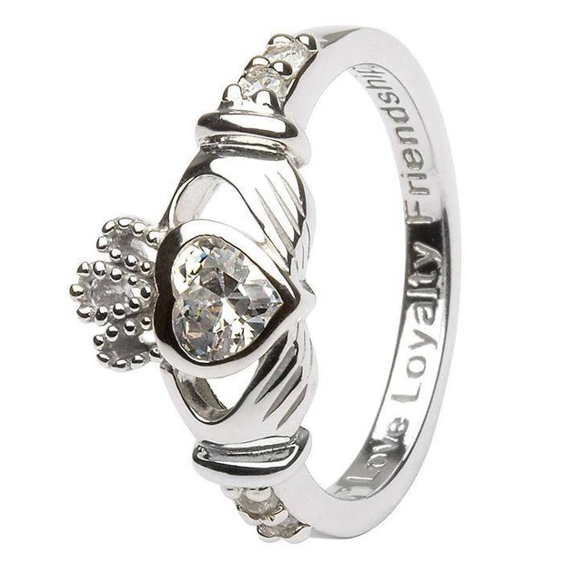 "APRIL Birthstone Silver Claddagh Ring LS-SL90-4 Inscribed ""Love Loyalty Friendship"" - Uctuk"