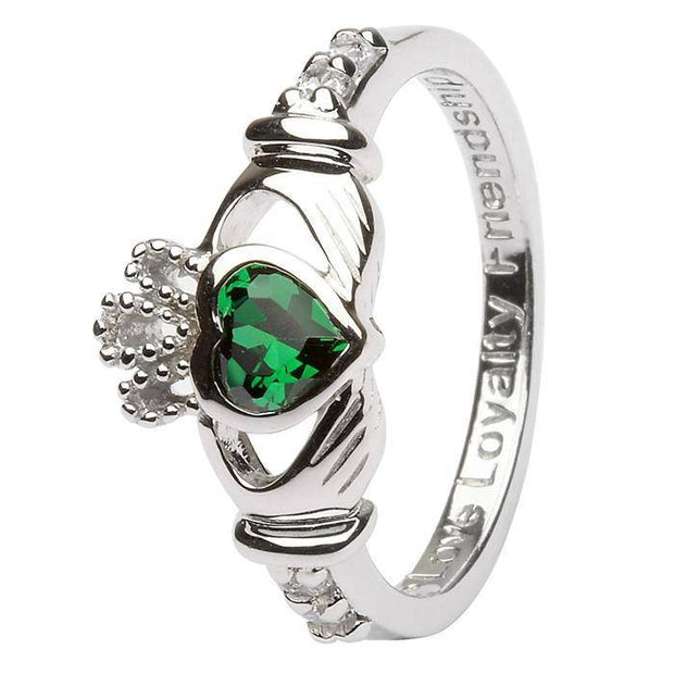 "MAY Birthstone Silver Claddagh Ring LS-SL90-5 Inscribed with ""Love Loyalty Friendship"" - Uctuk"