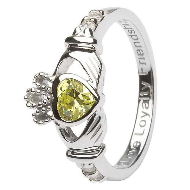 "AUGUST Birthstone Silver Claddagh Ring LS-SL90-8 Inscribed with ""Love Loyalty Friendship"" - Uctuk"