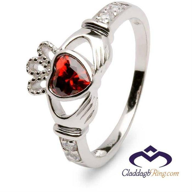 Retired Retired JANUARY Birthstone Silver Claddagh Ring LS-SL90DC-1  No Inscription - Uctuk