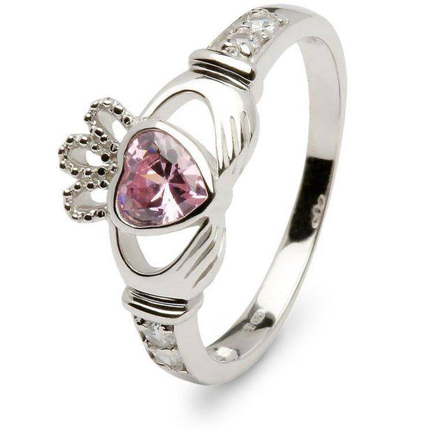Retired OCTOBER Birthstone Silver Claddagh Ring LS-SL90DC-10  No Inscription - Uctuk
