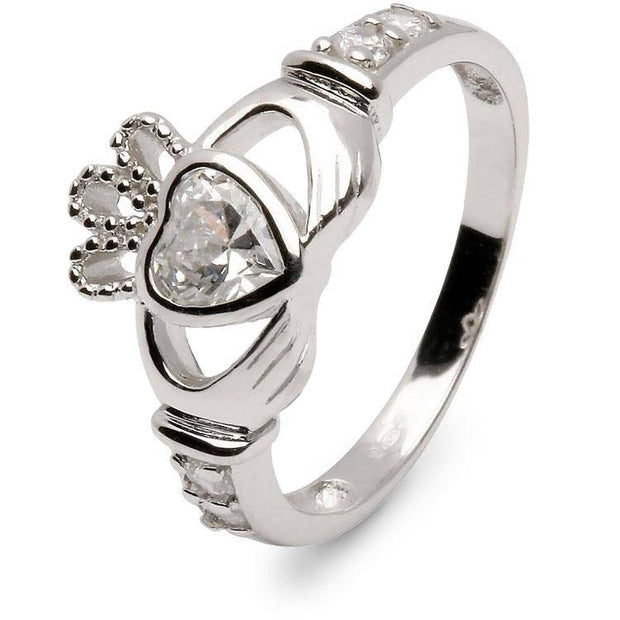 Retired APRIL Birthstone Silver Claddagh Ring LS-SL90DC-4  No Inscription - Uctuk