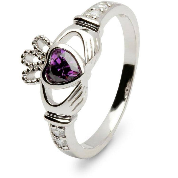 Retired JUNE Birthstone Silver Claddagh Ring LS-SL90DC-6  No Inscription - Uctuk