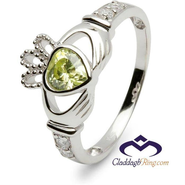 Retired AUGUST Birthstone Silver Claddagh Ring LS-SL90DC-8  No Inscription - Uctuk