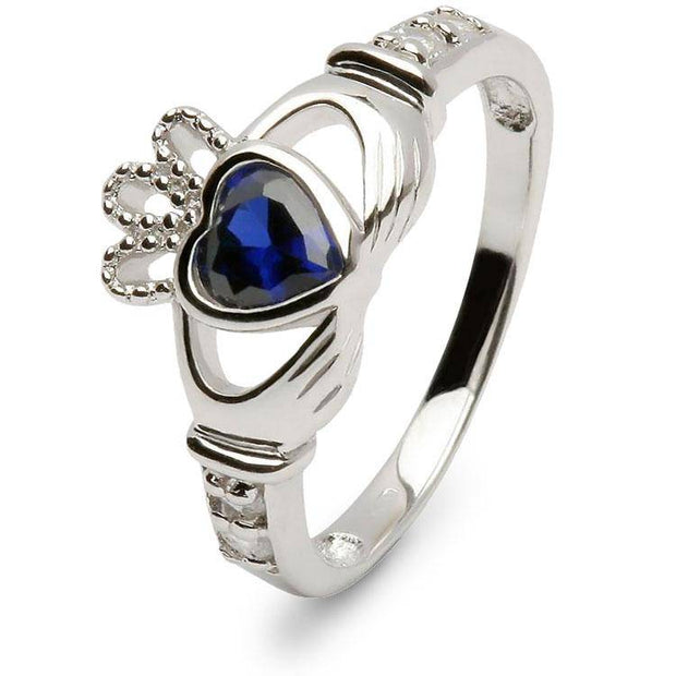 Retired SEPTEMBER Birthstone Silver Claddagh Ring LS-SL90DC-9  No Inscription - Uctuk