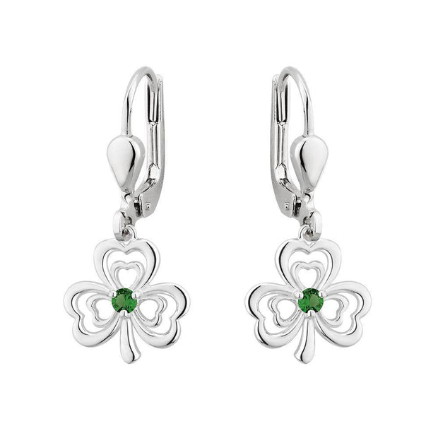 Sterling Silver Shamrock Earrings with Green CZ Stones - S33913 - Uctuk