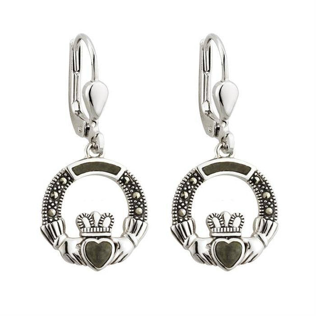 Sterling Silver Claddagh Earrings with Connemara Marble and Marcasite S33558 - Uctuk